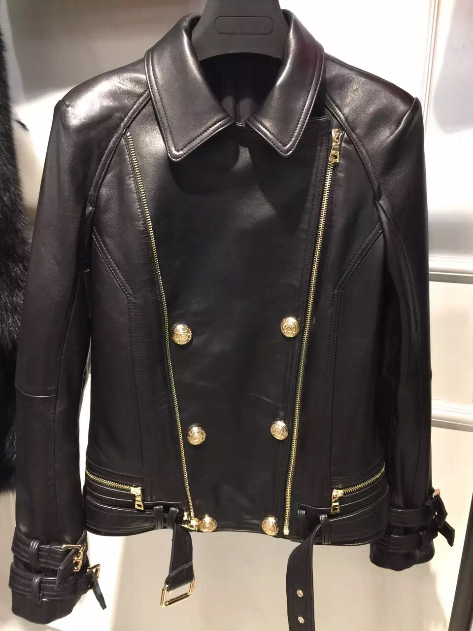 2016 natural lady leather jacket 100 real sheep leather garment