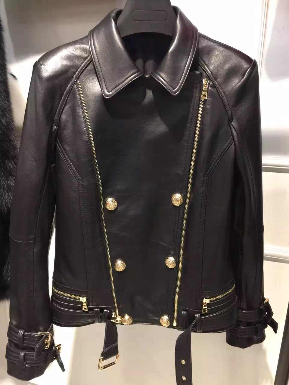 2016 natural lady leather jacket 100% real sheep leather garment