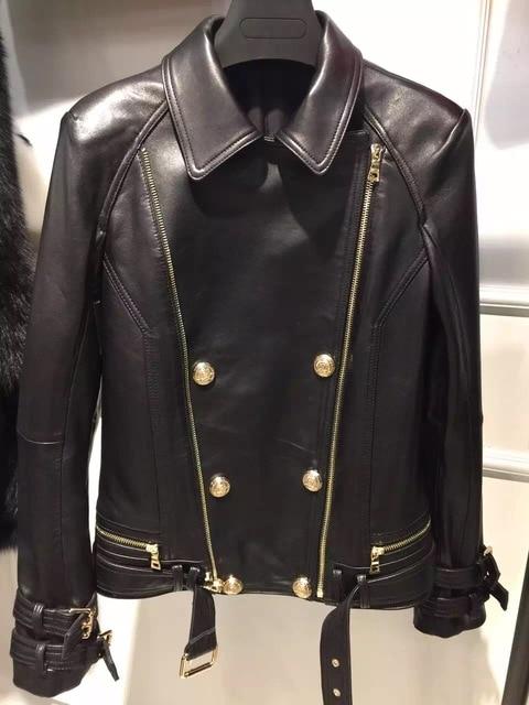 2016 natural senhora jaqueta de couro 100% real ovelha couro vestuário