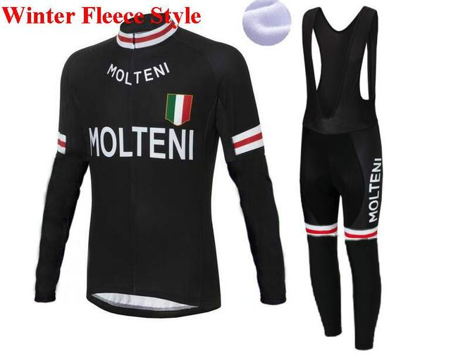 maillot Molteni Retrol winter cycling clothing Bike Jersey Bib Pants  fietskleding wielrennen winter heren set 53c6c502f