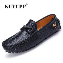 2016 KUYUPP Fashion Genuine Leather Men Loafers Casual Slip On Flats Summer Flat Heels Men Driving Shoes mocassin homme H48