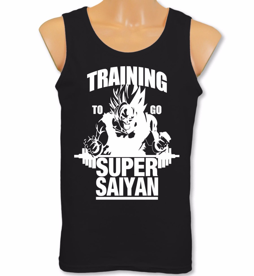 Mens Clothes 2018 Vest Train ing To Go Super Saiyan   Tank     Tops   Dragon Ball Z Gym Bodybuilding Goku   Tops   Tee Shirt Plus Size S-XXL