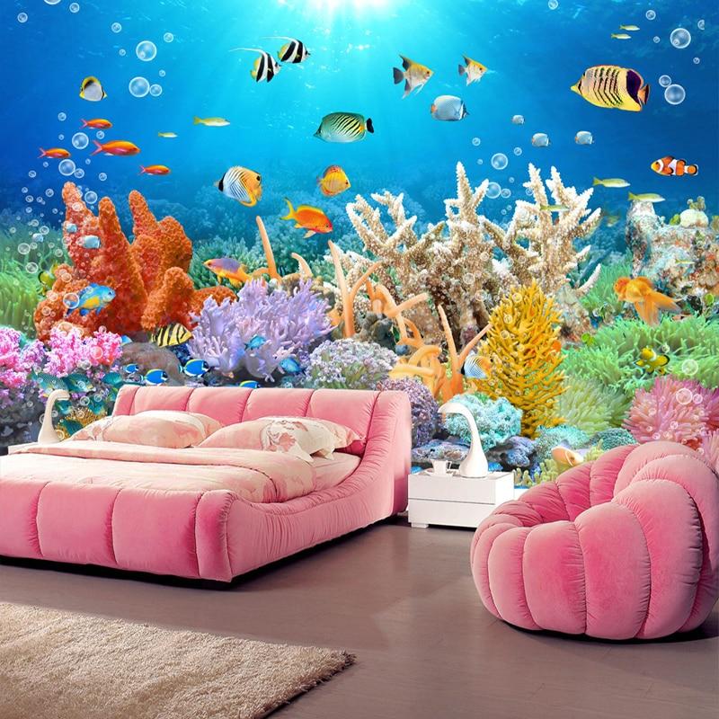 Custom 3D Mural Coral Reef Fish Tank HD TV Background Wall Photo Wallpaper 3D Room Wall Paper Landscape Papel De Parede Infantil
