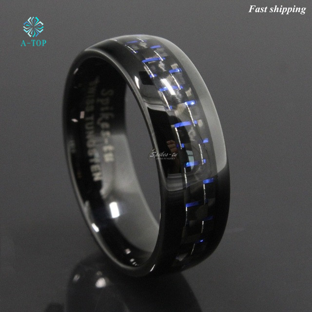 8mm Black and Blue Tungsten Ring with Carbon Fiber Men s Wedding Band jewelry Free Shipping