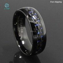 8 мм черный и синий вольфрама кольцо с углеродного волокна Мужская обручальное кольцо ювелирные изделия Бесплатная доставка