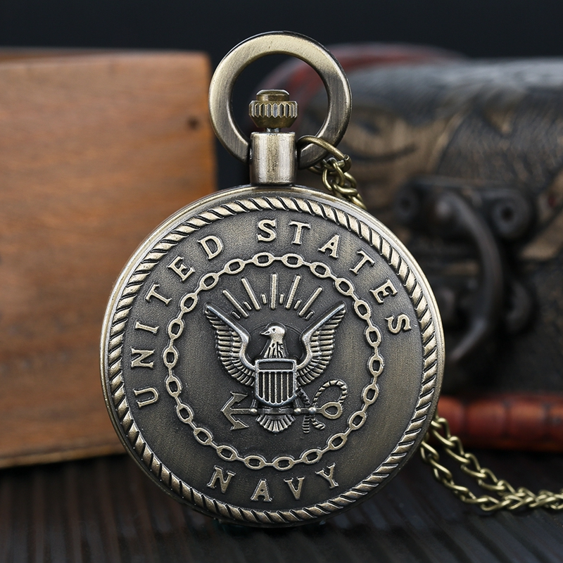 Vintage Bronze Antique Retro United States Navy Badge Military Man Necklace Pendant Gift Quartz Pocket Watch Chain For Men Women