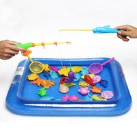 Kids 3D Magnetic Fishing Games Fun Set Rod Nets Summer Beach Water Bath Toys For Children