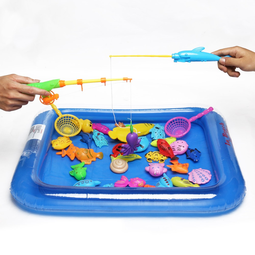 Fishing games for kids to play - Kids 3d Magnetic Fishing Games Fun Set Rod Nets Summer Beach Water Bath Toys For Children