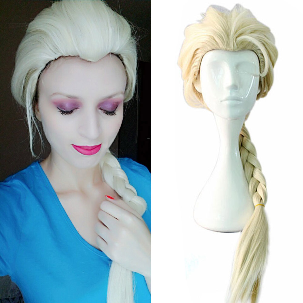 Princess Elsa Wig Ice Queen Costume Elsa Cosplay Halloween Accessories Snow Queen Wig Golden Ice Perruque Girl Princess Costume