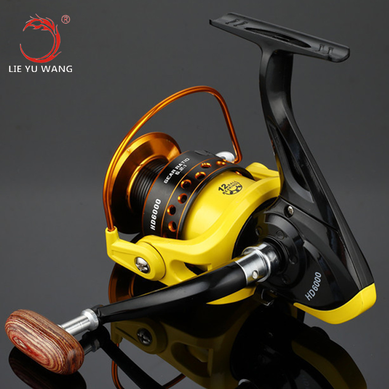 HD1000-7000 Series Spinning Fishing Reel 12BB 5.2:1 Pesca Spinning Reel Boat Rock Fishing Wheel High Quality