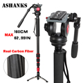ASHANKS A750C Fibra De Carbono Handheld Extensível Monopé com Cabeça Fluid Para Vídeo Dslr Camera Camcorder Melhor do que JY0506