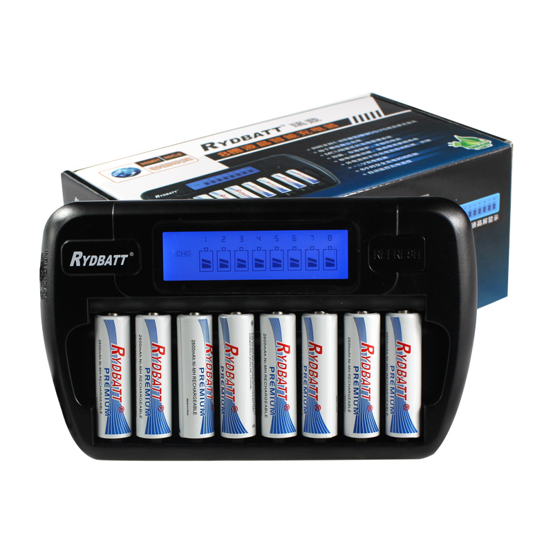 New Smart LCD Display RYDBATT 8 Slots Battery Charger for Ni MH NiCd AA AAA Rechargeable
