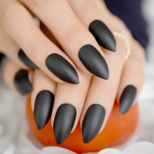 24pcs Pure Black Stiletto Nail Art Medium Pointed Salon Full Cover Diy Matte Acrylic Tips