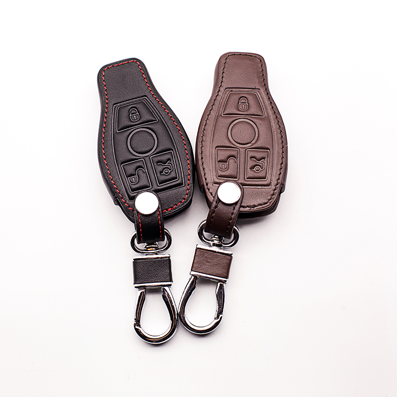 New style black coffee color leather key cover for Mercedes Benz W203 W210 W211 AMG W204