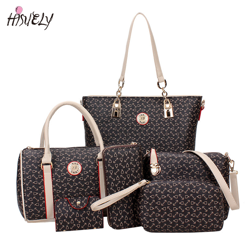 HISUELY 6 Sets Women Bone Pattern Handbag Shoulder Bag Crossbody Bag Composite Bags Designer Lady Famous Fashion Bag Hot Sale