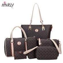 HISUELY 6 Sets Women Bone Pattern Handbag Shoulder Bag Crossbody Bag Composite Bags Designer Lady Famous