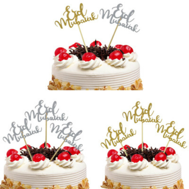 5pcs Cake Toppers Moon Eid Mubarak Wedding Baby Shower Birthday Party Ramadan Decor Gold Black Cupcake Topper Muslim Baking