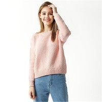 Women Long Sleeved Casual Sweater Pullover Coarse Wool Sweater Female Hemp Loose Shirt Winter Solid Color