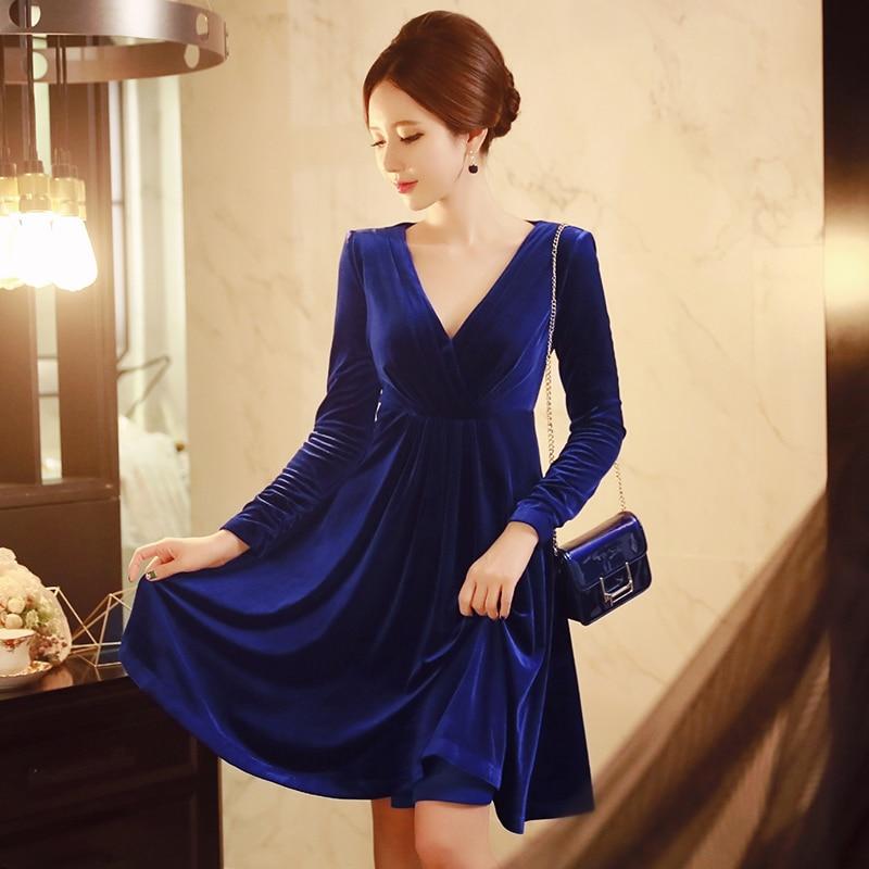 Original 2016 Brand Vestidos Autumn Winter  Long Sleeve Elegant Solid Navy Blue Velvet Noble Dress Women