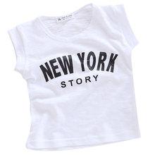 2016 children breathable white cotton short sleeved T-shirt boy girl summer new NEWYORK printing kids t shirt children clothing