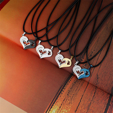 Collares Mens Stainless Steel Chain Heart Love Necklaces For Couples Korean Ladies Fashion Paired Suspension Pendants Model