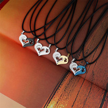 Collares Mens Stainless Steel Chain Heart Love Necklaces For Couples Korean Ladies Fashion Paired Suspension Pendants Model(China)