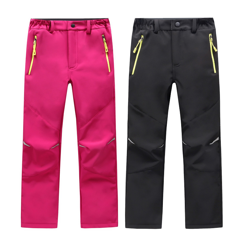 Winter Autumn Outdoor Children Trousers Quick-drying Soft shell Waterproof Pants Boys Girls Windproof Keep Warm Skiing Pants