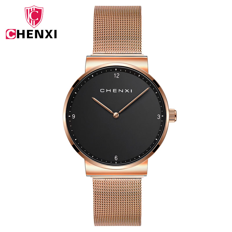 CHENXI Casual Watch Women 2018 Fashion Dress Quartz Wrist Watches Rose Gold Stainless Steel Couple Watches For Lovers Clock muhsein hot sellingnew lovers quartz watches stainless steel watch business women dress watches for couples free shipping