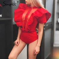 Simplee Sexy Ruffle Two Piece Bodysuit Summer 2017 Beach Bodycon Crop Jumpsuit Romper Women Soft Party