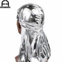Unisex Men Women Reflective Silky Durag Stars Soft Durags Turban Hat Bandana Headwear Long Straps Waves Cap Do Du Rag