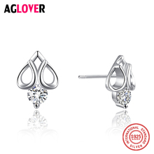 AGLOVER Luxury Heart Band Real Pure 925 Sterling Silver Jewelry Cubic Zircon Stone Earrings Fashion Women Favorite