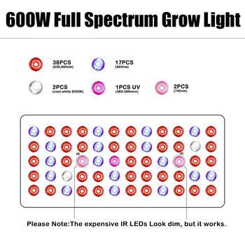 Phlizon Volle Spektrum 600WLED Wachsen Licht Pflanze Blume Gemüse Wachsenden Zelt Phyto Lampe Für Innen Gewächshaus Hydrokultur System