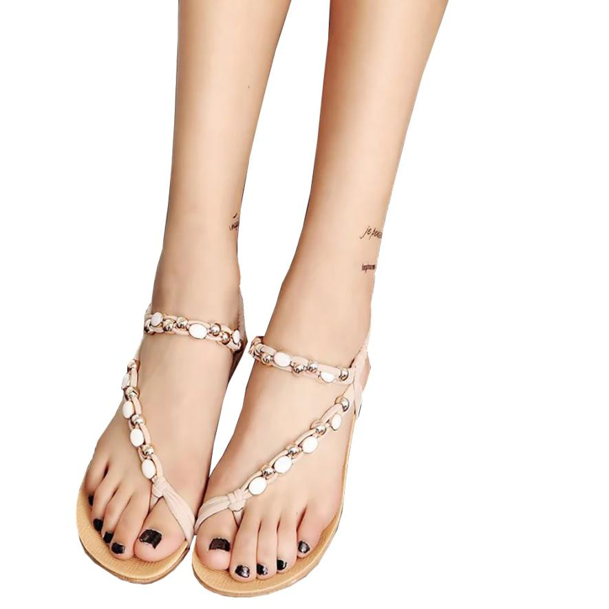 New Fashion summer shoes for women Flat Shoes Beaded Bohemia Leisure Sandals flip-flops gladiator Rome sandals zapatos mujer new flip flops summer women sandals 2017 gladiator sandals women shoes bohemia flat shoes sandalias mujer ladies shoes z579