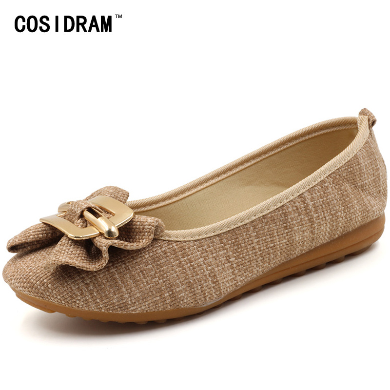 New 2017 Summer Hemp Women Flats Slip On Bowtie Linen Flat Shoes Casual Ladies Mother Driving Shoes Comfortable Female SNE-672