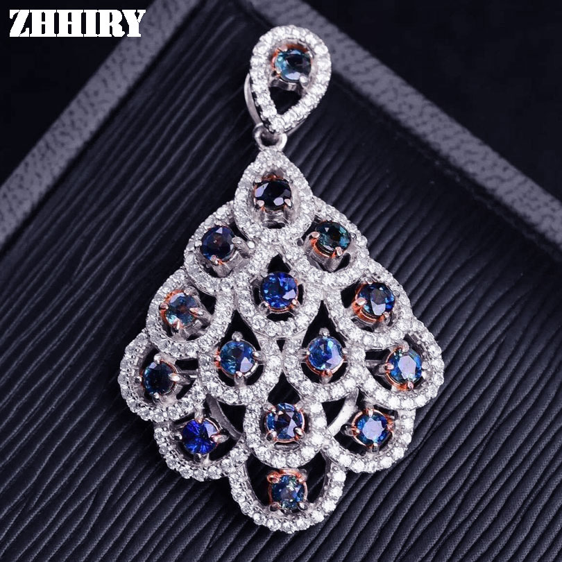 ZHHIRY Women Real Natural Sapphire Necklace Pendant Genuine Solid 925 Sterling Silver Fine Girls Gemstone Jewelry gemstone fine women jewelry real natural fresh water pearl pendant necklace wedding necklace 925 sterling silver double layers