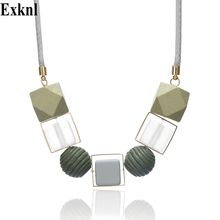 Exknl Geometric Women Necklace Statement Necklaces & Pendants Rope Chain Acrylic Beads Chokers Necklace For Women Trendy Jewelry набор ложек чайных apollo genio sochi 2шт нерж сталь