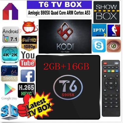 T6 TV Box Amlogic S905X Quad Core TV Box 1G/8G 2G/16G  WiFi Android Smart tv box Media Player 4K*2K Set-top Box t6 t95x amlogic s905x android 6 0 tv box 2g 8g 2g 16g quad core 100lan wifi h 265 16 1 full loaded pre installed media player box