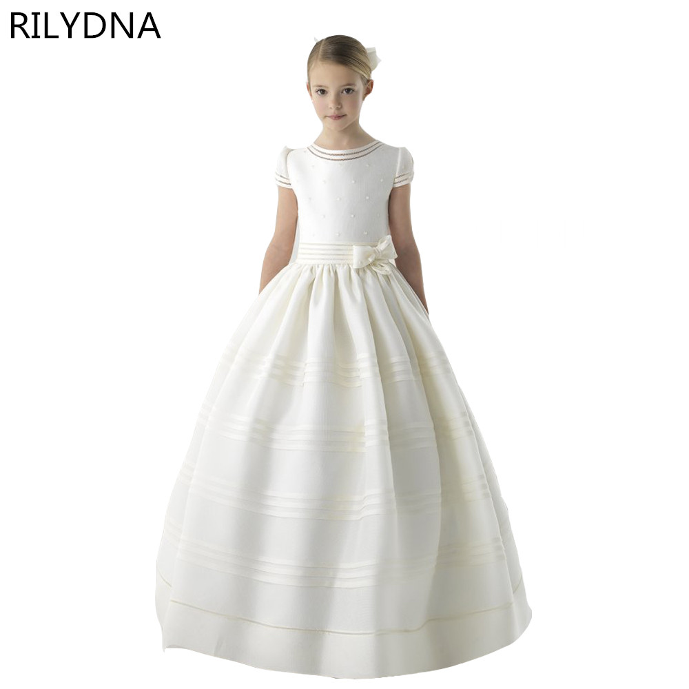 New Ball Gown Flower Girl Dresses with Bow Girls Pageant Gown First Communion Dresses For Girls lovely pink ball gown short flower girl dresses 2018 beaded pearls first communion dresses for girls pageant dress