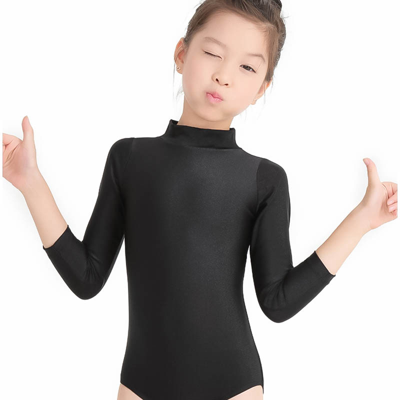 Girls Gymnastics Clothing Long Sleeve Standing Collar Kids Spandex Ballet Body Clothes Leotard Dance Tops Costumes Professional