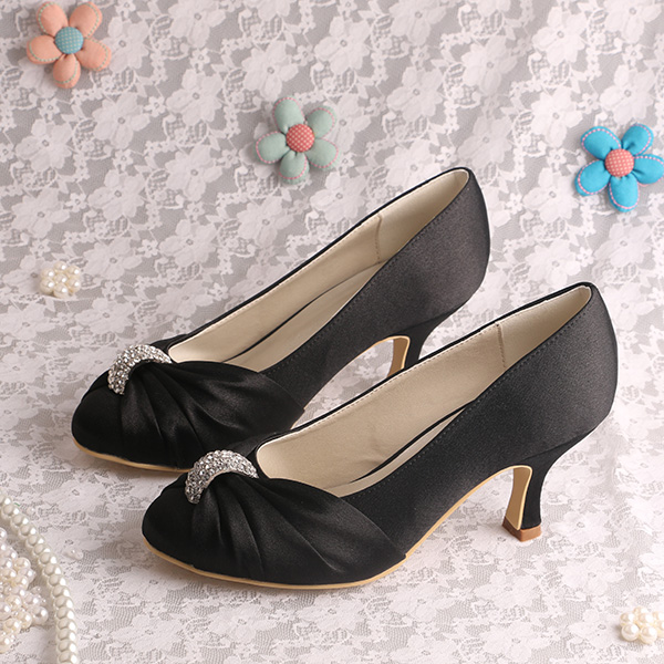 Medium Heel Women Wedding Shoes Small Size Black Satin