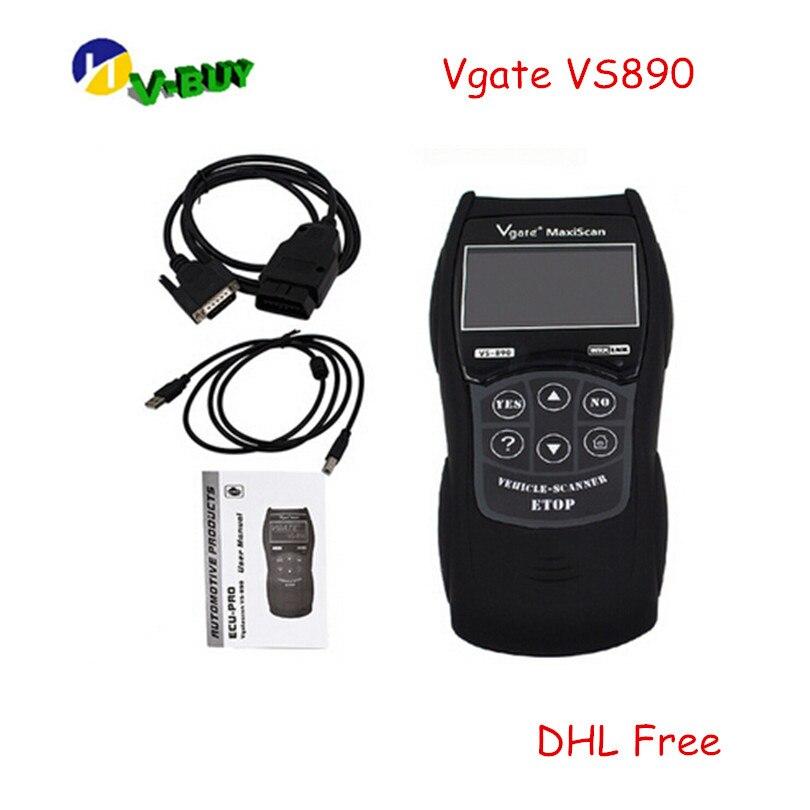 10 pcs/lot DHL gratuit VS890 OBD2 Scanner de Code universel VGATE VS890 Scanner de Diagnostic multi-langue outil de numérisation automatique Maxiscan VS890