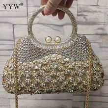 Gold Evening Bags And Clutches For Women Crystal Clutch Top Handle Hand Bags Beaded Rhinestone Purse Wedding Party Handbag red fan shaped blue crystal evening bags with silver chain high quality luxury rhinestone beaded crystal clutch multi color clutches