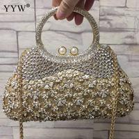 Gold Evening Bags And Clutches For Women Crystal Clutch Top Handle Hand Bags Beaded Rhinestone Purse Wedding Party Handbag red