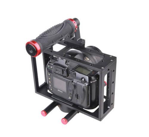 Aluminum DSLR Camera Cage Rig Top Handle 15mm Rod Rig For Canon EOS 5D 7D