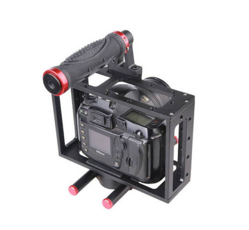 Aluminum DSLR camera Cage Rig top handle 15mm rod rig for canon EOS 5D 7D