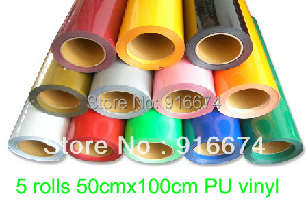 Fast Free shipping DISCOUNT 5 pieces 50cmx100cm heat transfer PU vinyl heat press cutting plotter free shipping 5rolls 50cmx100cm heat transfer vinyl film pet metal light mirror finish for textile print