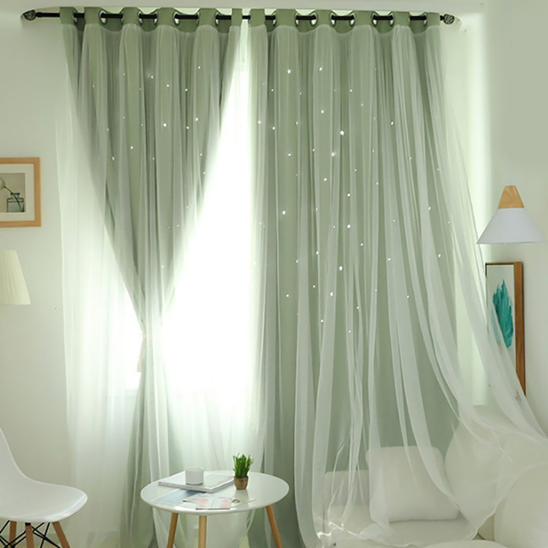 Nordic Ins Modern Tulle+Black Out Double Curtains With Star Tassel Black Out Blinds Window Curtains For Living Room High Quality