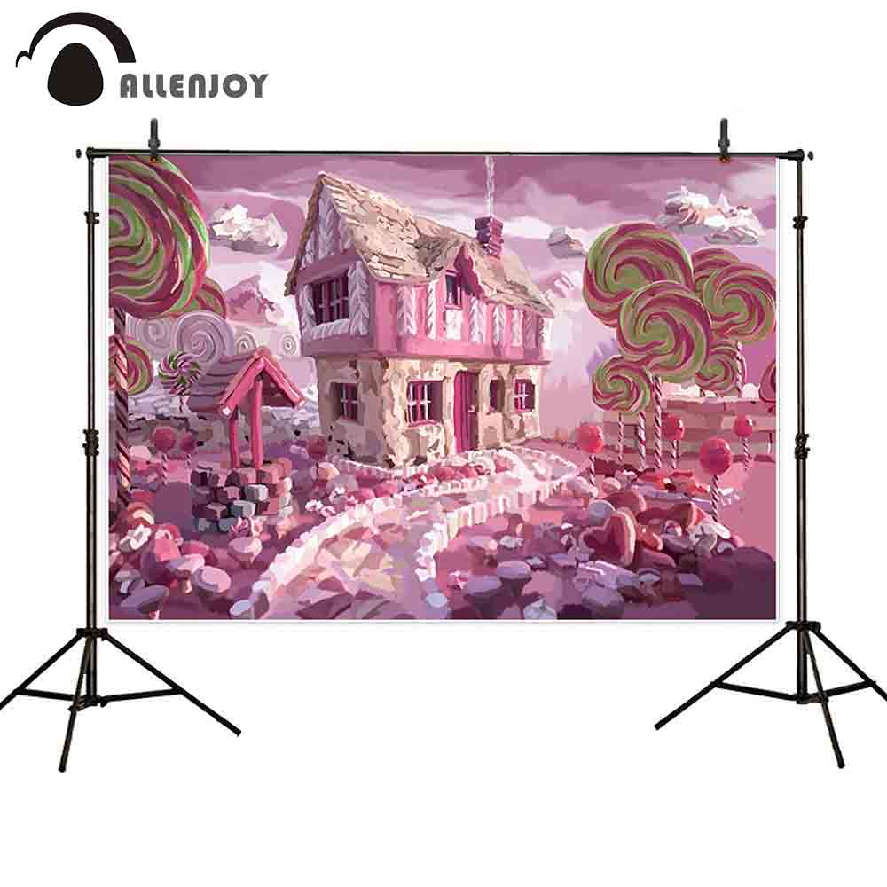 Motivated Allenjoy Photophone Photocall Pink Candy Bar Oils Canvas House Lollipop Path Baby Child Dessert Table Photo Background Backdrop Camera & Photo