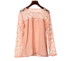 High Quality Women Lace Crochet Embroidery Tops Long Sleeve Shirt Casual Blouse S M for discount lowest price