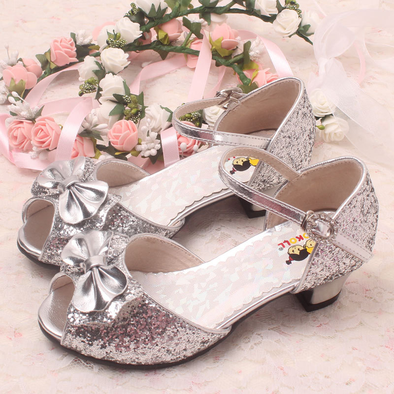 e36b7f51a33 2015 New Girls Sandals Bowtie Poop Toes High heels Dance Shoes ...